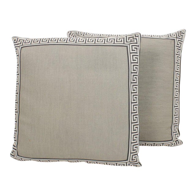 Pewter Linen Greek Key Pillows, a Pair For Sale