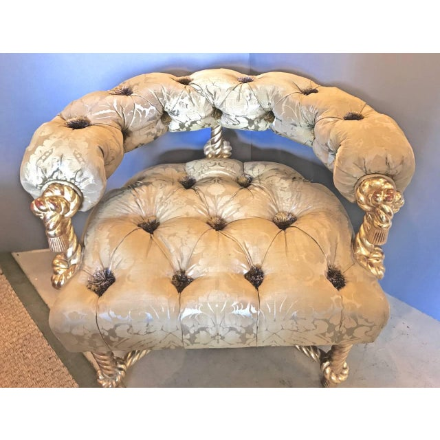 This Kelly Wearstler-designed Napoleon III-style chair is over-the-top: gilt rope carved frame silk damask upholstery and...