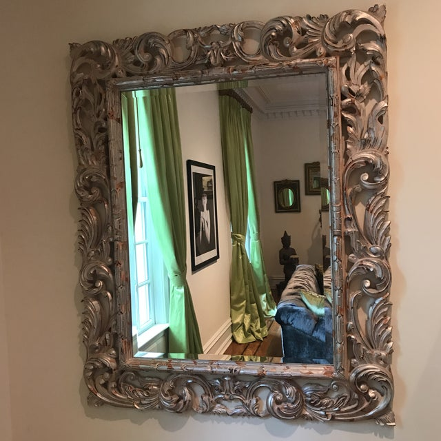 Art Deco Art Deco Silver Brocade Large Wall Mirror For Sale - Image 3 of 7