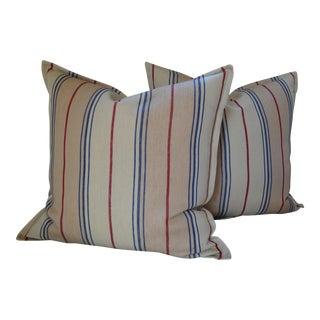 """Ralph Lauren Maritime 20"""" Linen Ticki Pillow Covers - A Pair For Sale"""