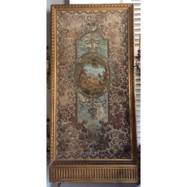 Beautiful colors and charming old gold frame that once was the center panel in a folding screen. The ornate detailed...