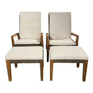 Janus Et Cie Teak Woven Adjustable Chairs and Ottomans With White Cushions, 4 Pieces For Sale
