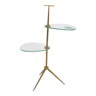 Mid Century Modern Italian Side Table Brass & Glass After Fontana Arte