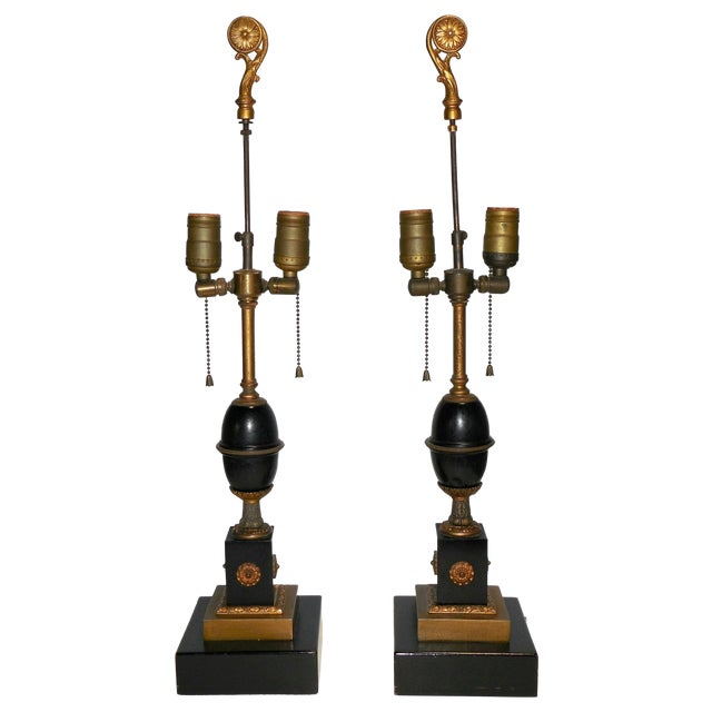 Antique Empire Style Lamps - Pair - Image 1 of 10