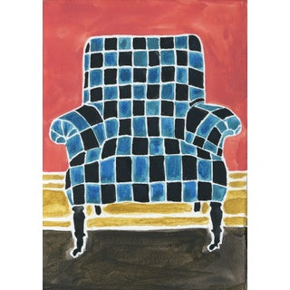 Kate Lewis Checkered Chair Original Painting Preview