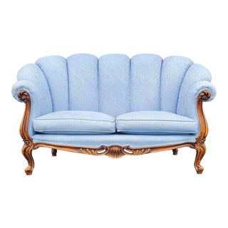 Victorian French Blue Silk Scallop Loveseat For Sale