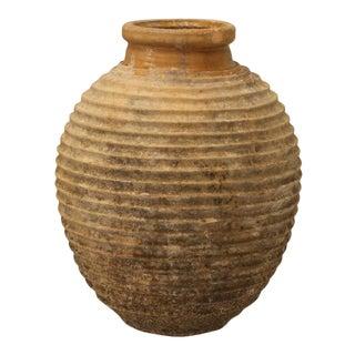 Large Antique European Fluted Terra Cotta Pot For Sale