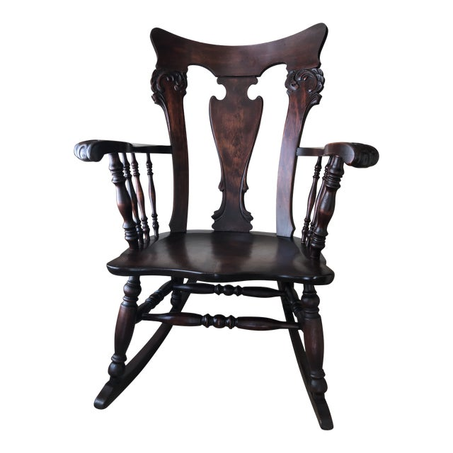 Jacobean Colonial Revival-Inspired Carved Rocking Chair For Sale