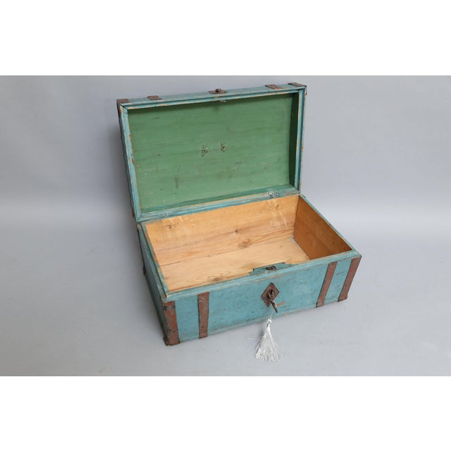 Antique Swedish Chest Strong Box, Lock & Key For Sale In Houston - Image 6 of 8