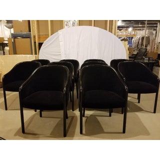 1980s Vintage Ward Bennett for Brickel Associates Walnut & Velvet Mohair Dining Chairs - Set of 10 Preview