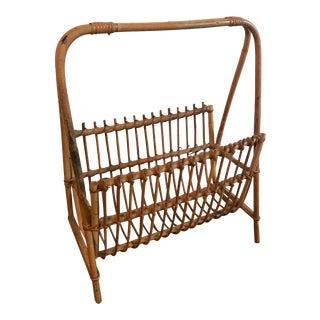 1960s Mid Century Modern Bamboo Rattan Magazine Rack For Sale