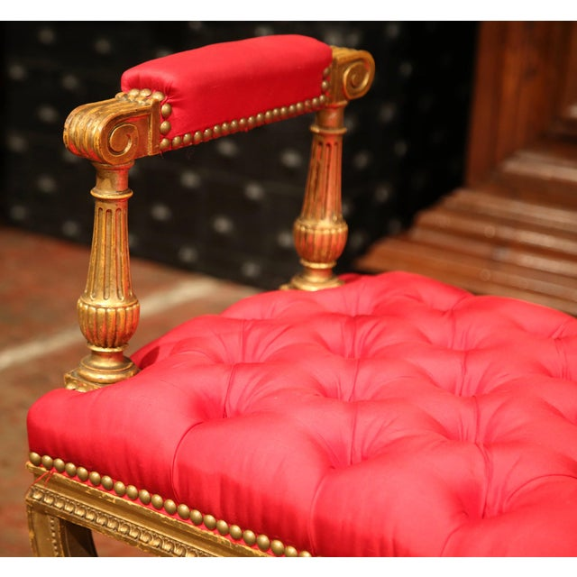 19th century French Napoleon III Carved Giltwood Dagobert Stool with Red Silk For Sale - Image 4 of 8
