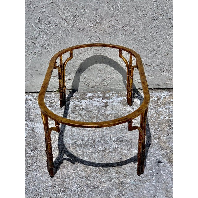 Mid 20th Century Midcentury Italian Gilt Metal Faux- Bamboo Glass Top Coffee Table For Sale - Image 5 of 10