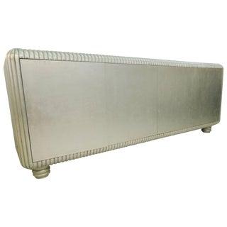 80s Modern Custom Made Silver Leaf Art Deco Moderne Inspired Sideboard Buffet For Sale