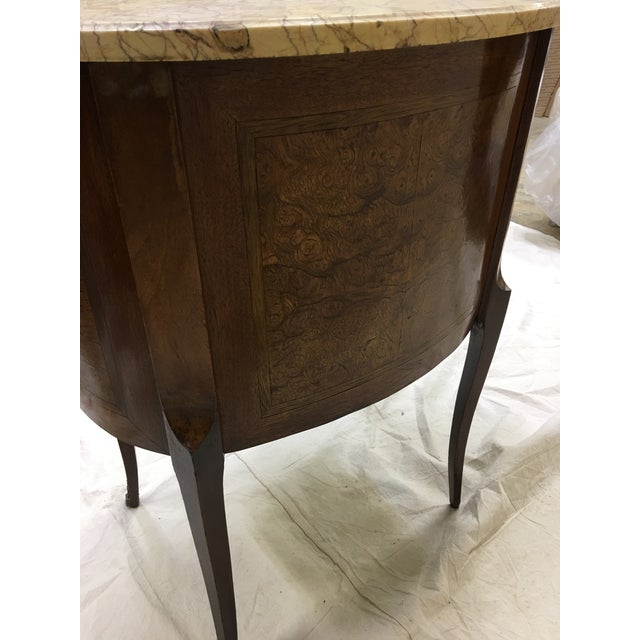 Late 19th Century Antique French Inlaid Marble Top and Decorative Bronze Ormolu Side Table For Sale - Image 5 of 12