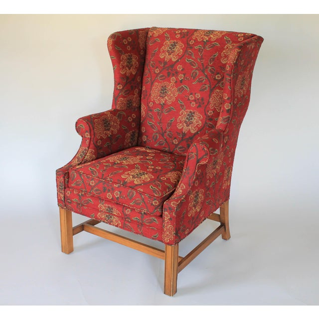 Textile Upholstered Wingback Chair For Sale - Image 7 of 11