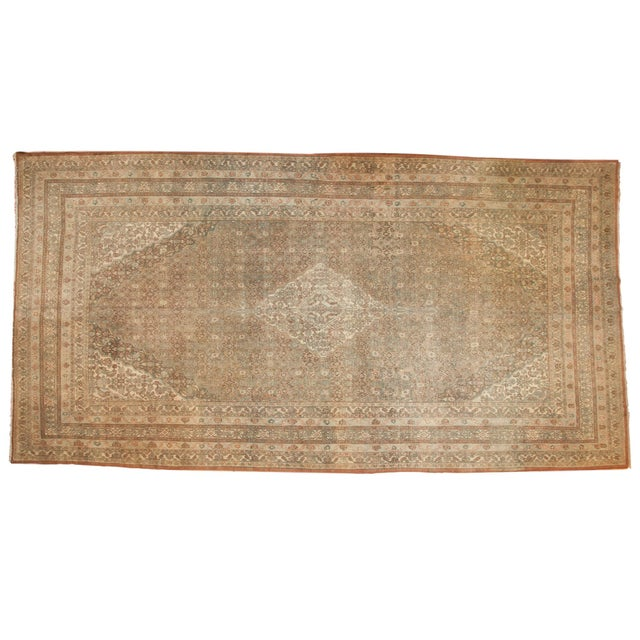 "Vintage Distressed Bibikabad Carpet - 9'5"" X 18'2"" For Sale - Image 13 of 13"