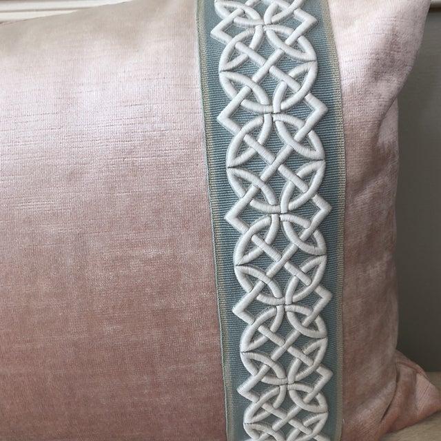 Scalamandre Trim Pink Velvet Pillow - Image 2 of 6