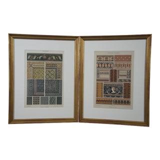 19th Century Emil Hochdanz Art Nouveau Greek Roman Mosaik Floors Book Plates Prints- a Pair For Sale
