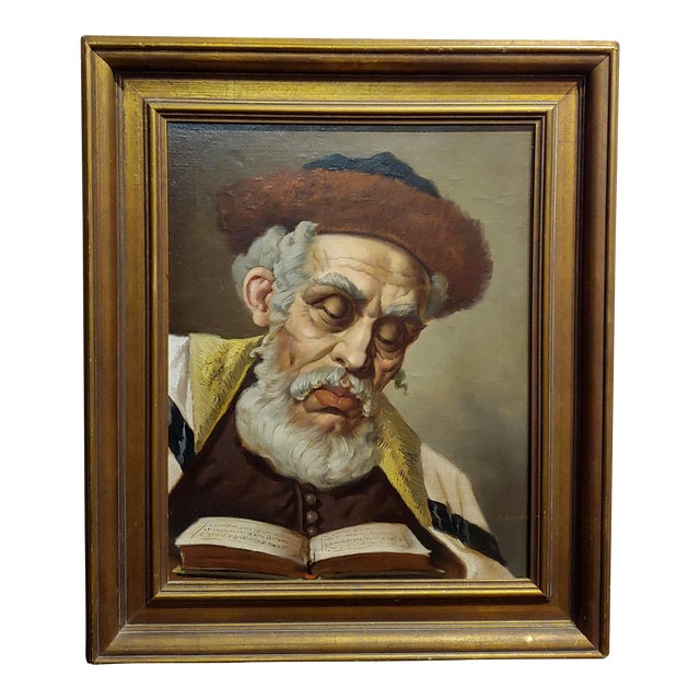 Lajos Polczer - Portrait of a Patriarch Rabbi -Oil Painting For Sale