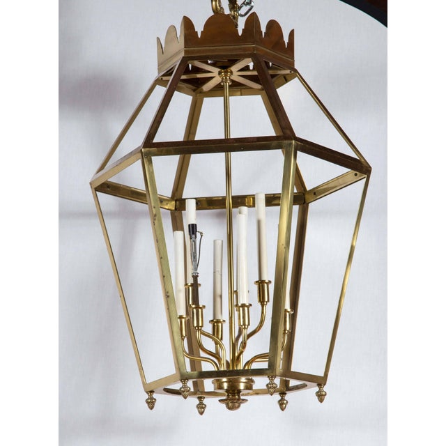 Italian 1960s Vintage Hexagonal Brass Lantern For Sale - Image 3 of 8