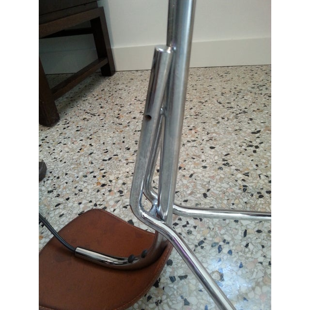 Chrome and Leather Floor Lamp For Sale - Image 12 of 12