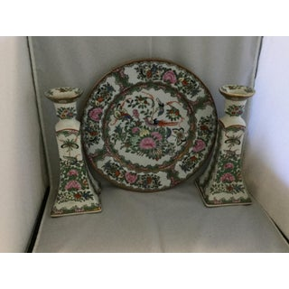 Chinese Decorative Porcelain Plate and Matching Candelabras - 3 Pieces Preview