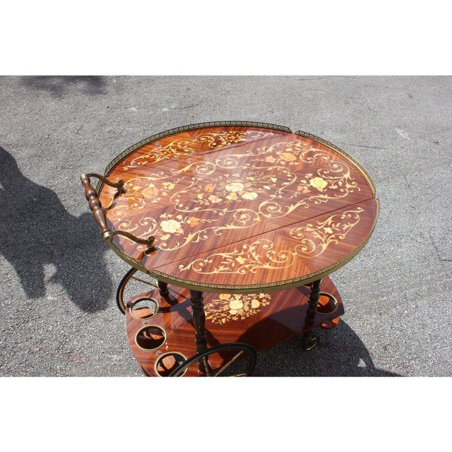 1950s French Marquetry Drop Leaf Bar Cart For Sale - Image 11 of 13
