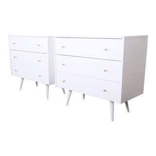 Paul McCobb Planner Group White Lacquered Three Drawer Bachelor Chests or Nightstands, Newly Restored For Sale