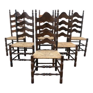 French Country Rush Seat Ladder Back Dining Chairs - Set of 6 For Sale