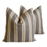 """Image of French Striped Ticking Feather/Down Pillows 24"""" Square - Pair For Sale"""