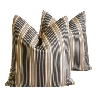"French Striped Ticking Feather/Down Pillows 24"" Square - Pair For Sale"