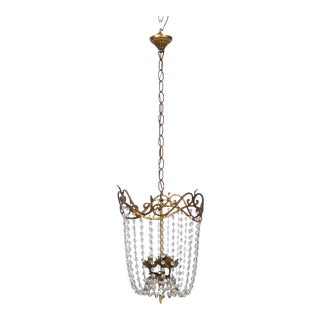 Empire Chandelier with Gilt Metal and Cascading Beads