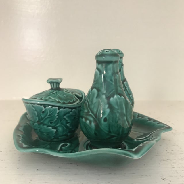 For your viewing pleasure is an authentic piece of Wedgwood majolica in the form of a leaf shaped condiment caddy. The set...