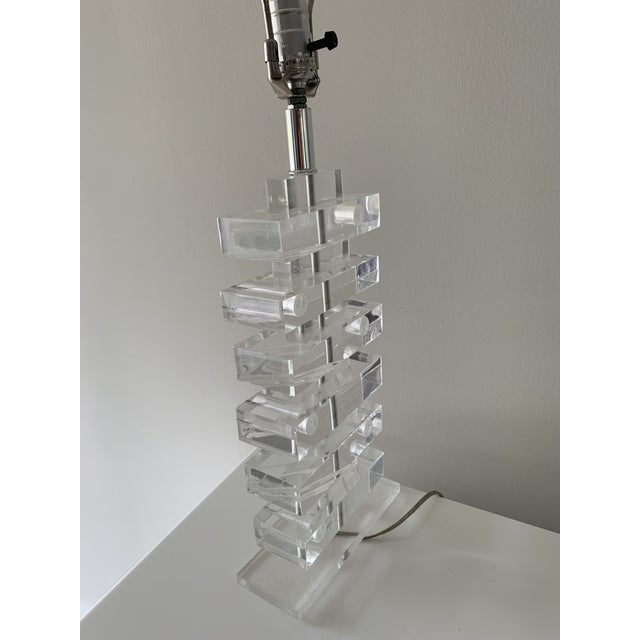 1970's Lucite Stacked Lamp For Sale - Image 10 of 13