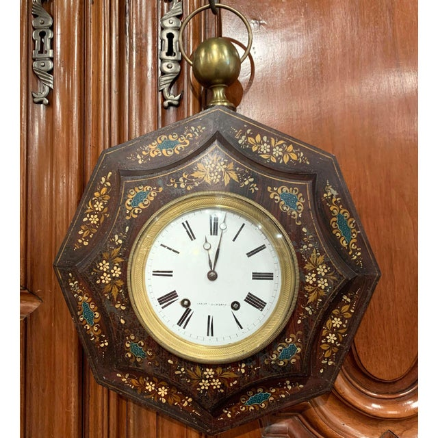 19th Century, French Napoleon III Black and Gilt Painted Tole Wall Clock For Sale - Image 13 of 13
