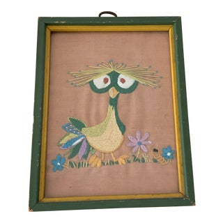 Whimsical Vintage Framed Bird Embroidery For Sale
