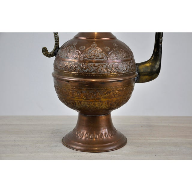 Antique 19th C. Middle Eastern Tinned Copper Ewer For Sale - Image 10 of 11
