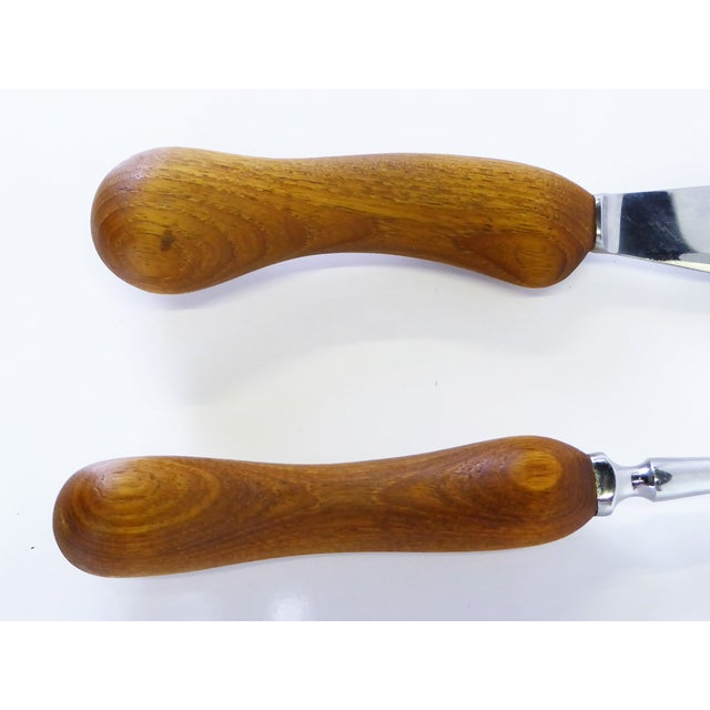 1960s Vintage ESA by Erik S. Angelo Danish Modern Teak Stainless Carving Set- A Pair For Sale In Miami - Image 6 of 9