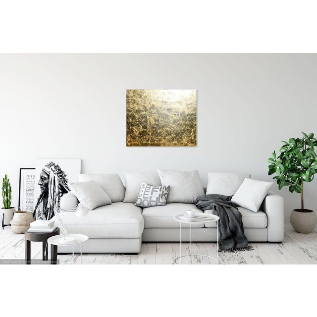 """Canvas Monumental, Contemporary """"Gold"""" Gold Leaf Canvas by Martha Holden For Sale - Image 7 of 9"""