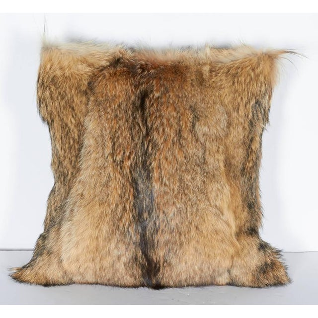 Luxury Fur Throw Pillow in Genuine Coyote and Cashmere For Sale In New York - Image 6 of 9