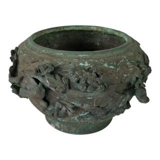 1900s Vintage Japanese Bronze Planter For Sale