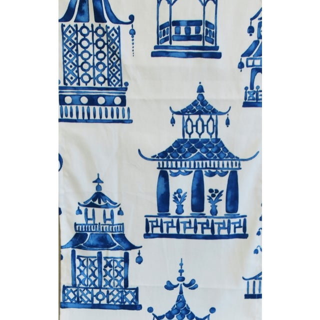 """Early 21st Century Chinoiserie Blue & White Pagoda Table Runner 110"""" Long For Sale - Image 5 of 7"""