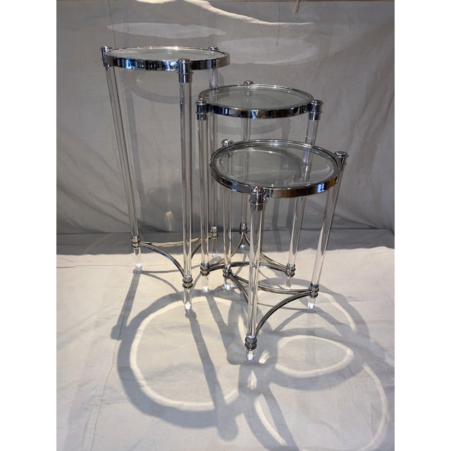 Contemporary Contemporary Lucite, Chrome and Glass Nesting Tables - Set of 3 For Sale - Image 3 of 6