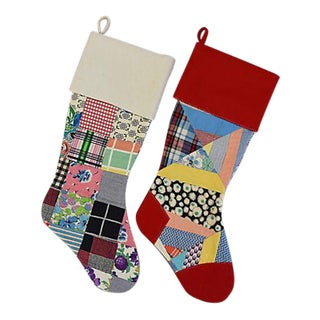 "Large 22"" Custom Tailored Patchwork Quilt Christmas Stockings - Pair For Sale"