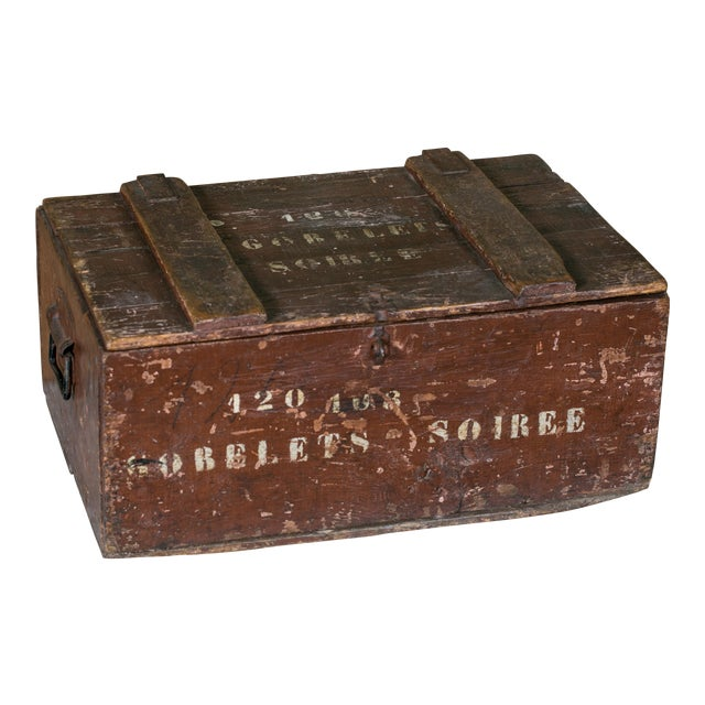 Curious Stenciled Lidded Wooden Belgian Campaign Trunk with Blown-Glass Glasses, circa 1915 For Sale