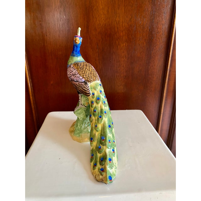 Figurative Early 20th Century Dresden Figurine Peacock For Sale - Image 3 of 13