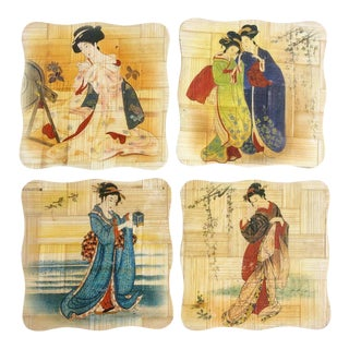 Vintage Set of 4 Chinoiserie Style Geisha Bamboo Coasters