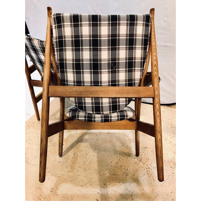 Brown Pair of Mid-Century Modern Style Plaid Fabric Lounge Chairs With Ottomans For Sale - Image 8 of 12
