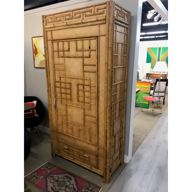 Vintage Rattan Bamboo Armoire Cabinet With Lucite And Brass Handle - Image 11 of 11